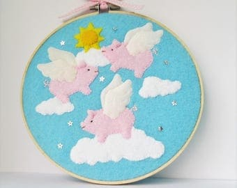 Hoop art, Flying Pigs, when pigs fly, pigs might fly, winged pigs