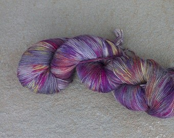 Fingering Weight Sock Yarn, Hand Dyed in Flowers on the Sidewalk Colorway