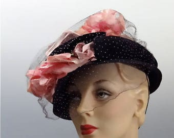1940's Navy Straw Hat Double Brim - Pink Silk and Velvet Rosebuds with Pink Dotted Navy Veil - WWII Women's Fashion Accessories