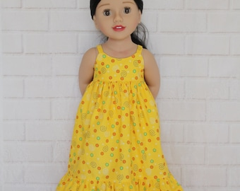 Yellow Boho Chic Summer Maxi Dress Dolls Clothes to fit 20 inch dolls such as Australian Girl dolls