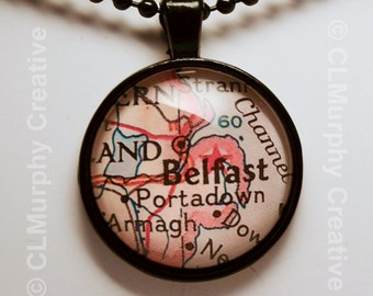 Belfast Northern Ireland Map Necklace Pendant Armagh Portadown C L Murphy Creative