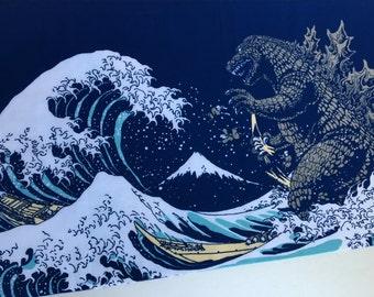 Godzilla tenugui japanese fabric, shin godzilla birthday party, godzilla wall decoration, kendo bandana,  martial arts, japan tsunami fabric