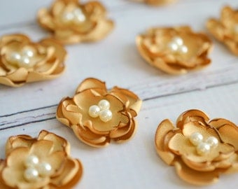 "Antique gold satin flowers, set of 2 sew on / glue on embellishments, DIY wedding, 1.25"" (3cm) flowers with faux pearl center, ready to ship"