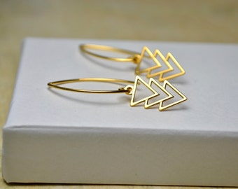 Gold Triangle Earrings, Chevron Earrings, Gold Vermeil Geometric Jewelry, Minimalist Earrings, Drop Gold Arrow Earrings, Wife Gift for Women