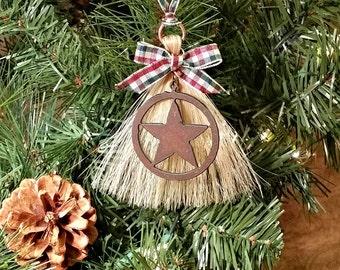 Rustic Primitive Rusty Metal Cutout Texas Star on Horsehair Tassel Christmas Holiday Ornament