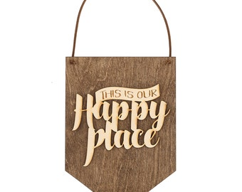 Happy Place - Wood Sign - Wall Decor - Gift Idea for Couples - Wall Hanging - Gifts for Boss - My Happy Place - Bedroom Decor - Office Decor