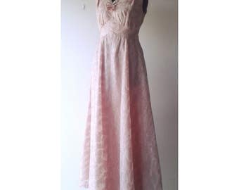 CLEARANCE PRICE 1950s Pink Brocade Prom Dress Ball Gown Sleeveless