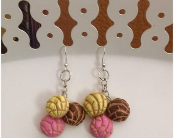 Pink Yellow Brown Cluster  Concha Pan Dulce Earrings