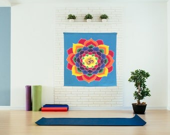 Summer sale 20%Off coupon code: SUMMERSALE2017   Wall hanging, Hand Painted Batik  yoga decor, sacred geometry tapestry,,  cotton mandala