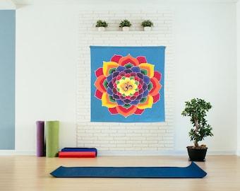 Wall hanging, Hand Painted Batik  yoga decor, sacred geometry tapestry,,  cotton mandala