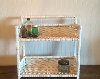 Vintage White Wicker Vanity Shelf Wall Shelf Shabby Cottage Chic