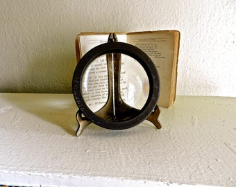 Vintage Industrial Magnifying Glass . Paperweight. Desk & Office Decor.