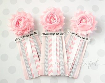 Pink Grey Chevron Baby Shower Corsage with Mommy to Be Grandma to Be and Custom Pins Badge