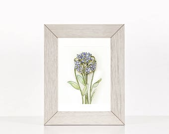 framed wall art, original botanical watercolor painting, home decor, gift for her, Unique watercolor painting flower bouquet, Free shipping