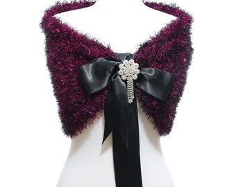 Fuchsia Black Wedding Bridal Shawl Bridal Wedding Stole, Fuchsia Shawl Hand Knit Fuchsia Capelet Wedding Capelet Bridesmaids Gift Shawl