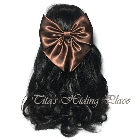 Chocolate Brown, Hair Bows, Bridal, Wedding Accessories, Hair Bows For Women, Bows for Baby girls, Fabric Hair Clips, Big Bows,   BRID045