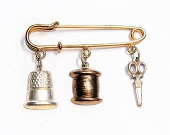 Sewing Implements Scissors Thimble Cotton Reel Spool Seamstress Stitching Dangle Drop Vintage Brooch (c1930s)