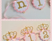 12 month photo banner princess theme newborn to one year pink gold mint silver birthday picture banner