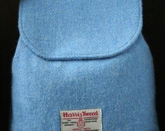 Sky Blue Harris Tweed Backpack