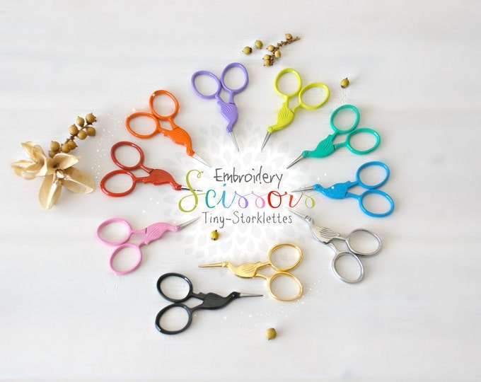 Featured listing image: Embroidery Scissors - Colorful Mini Scissors - Shears - Ribbon Scissors - Sharp Scissor - Heart Embroidery Scissors - Storklettes Scissors