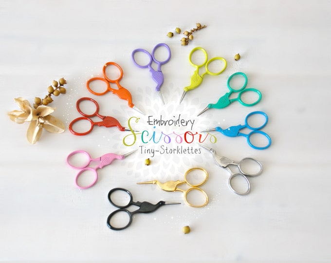 Featured listing image: Embroidery Scissors - Colorful Mini Scissors - Shears - Mini Ribbon Scissors - Cute Scissor - Mini Crane Scissors -Mini Storklettes Scissors