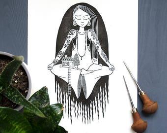 Linocut print: Meditation