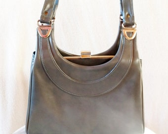Vintage Gray Vinyl Mod Purse with Double Shoulder Straps