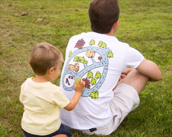 Race Track Play Mat Shirt Developed for Kids with Autism and Their Dads.  Sensory Processing Toy. Language Speech pretend play Toy