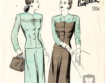 Butterick 2720 Misses' Vintage 1940s Two Piece Suit Dress Sewing Pattern