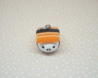 Salmon nigiri sushi polymer clay charm - stitch marker - necklace