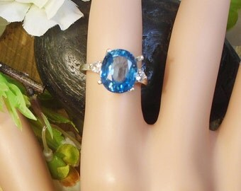 Blue Sapphire September Birthstone, Sterling Silver Ring, Extreme Sparkle Eye Clear 4.90 Ct, 11.1x9.2 mm Natural Sapphire Birthstone