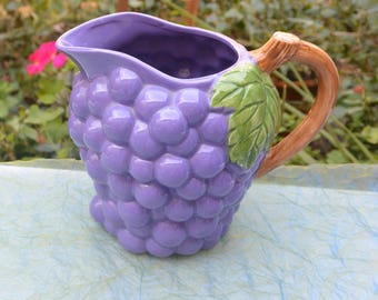 Grape Pitcher - Hand Painted, Water/Lemonade - Vintage - Fabulous!