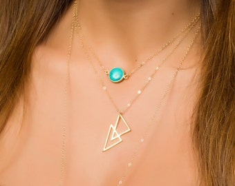 Gold Triangle Necklace, Triangle Pendant, Gold Layered Necklace, Geometric Pendant, Minimalist Necklace, Gold filled Necklace, | 0260NM