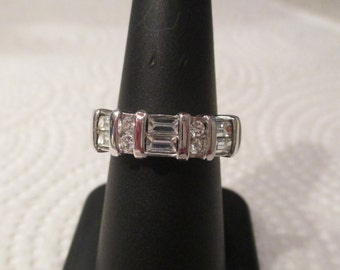 New OLD STOCK 18kt White Gold Electroplated CZ Ring Simulated Diamond Wedding Band Heavy Thick sparkly clear stones Possibly over sterling