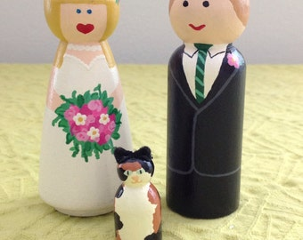 Couple and Pet Handpainted Keepsake Cake Topper Customizable Unique Detailed