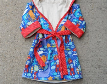 Fully Lined Hooded Organic Cotton Robe - Sizes 1T - 4T