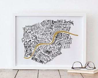 A3 London print - London map - London poster - London Art - map print