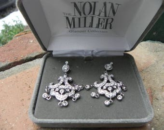 Nolan Miller Pierced Earrings - Chandelier Style with Crystals   - S2058