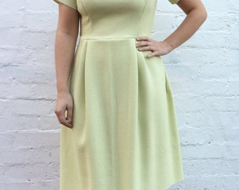 Pale Green Susa Dress UK size 12-14 - textured pistachio vintage cotton tea sun daydress yellow sleeve handmade by The Emperor's Old Clothes