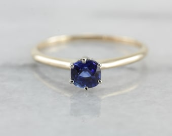 Bright Blue Sapphire Solitaire Engagement Ring in Yellow Gold LVRM8Q-P