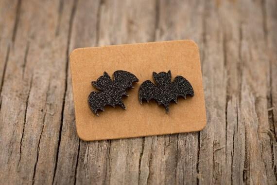 FREE SHIPPING WORLDWIDE - Sparkle Bats - Acrylic Earrings Studs Surgical Steel - Black Bats