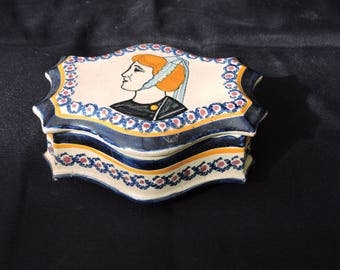 Vintage Quimper Pottery - Hand Decorated Folk Art Box - Breton Faience Henriot Ironstone Small Ceramic Box With Lid- Tole Decoration