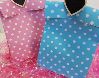 8x polka dot, candy bags, paper bags, loot bags, Baby shower, cookie boxes, candy buffet, party favor, gift bag, paper bag, lolly dot