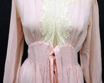 1940s Womens Robe Rayon Crepe Sz 8-10 Vintage Retro Pin Up
