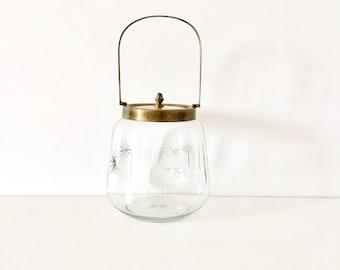 Glass biscuit barrel, antique glass biscuit barrel, French biscuit barrel, french glassware