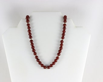 10k Yellow Gold Carnelian Beaded Necklace Antique Art Deco 18 inch