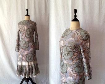 1950s floral lurex wiggle dress