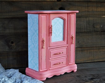 Decoupage Jewelry Box, Jewelry Armoire, Coral, Mint Green, Shabby Chic, Hand Painted, Upcycled, Tall, Large Jewelry Box, Gift for Her