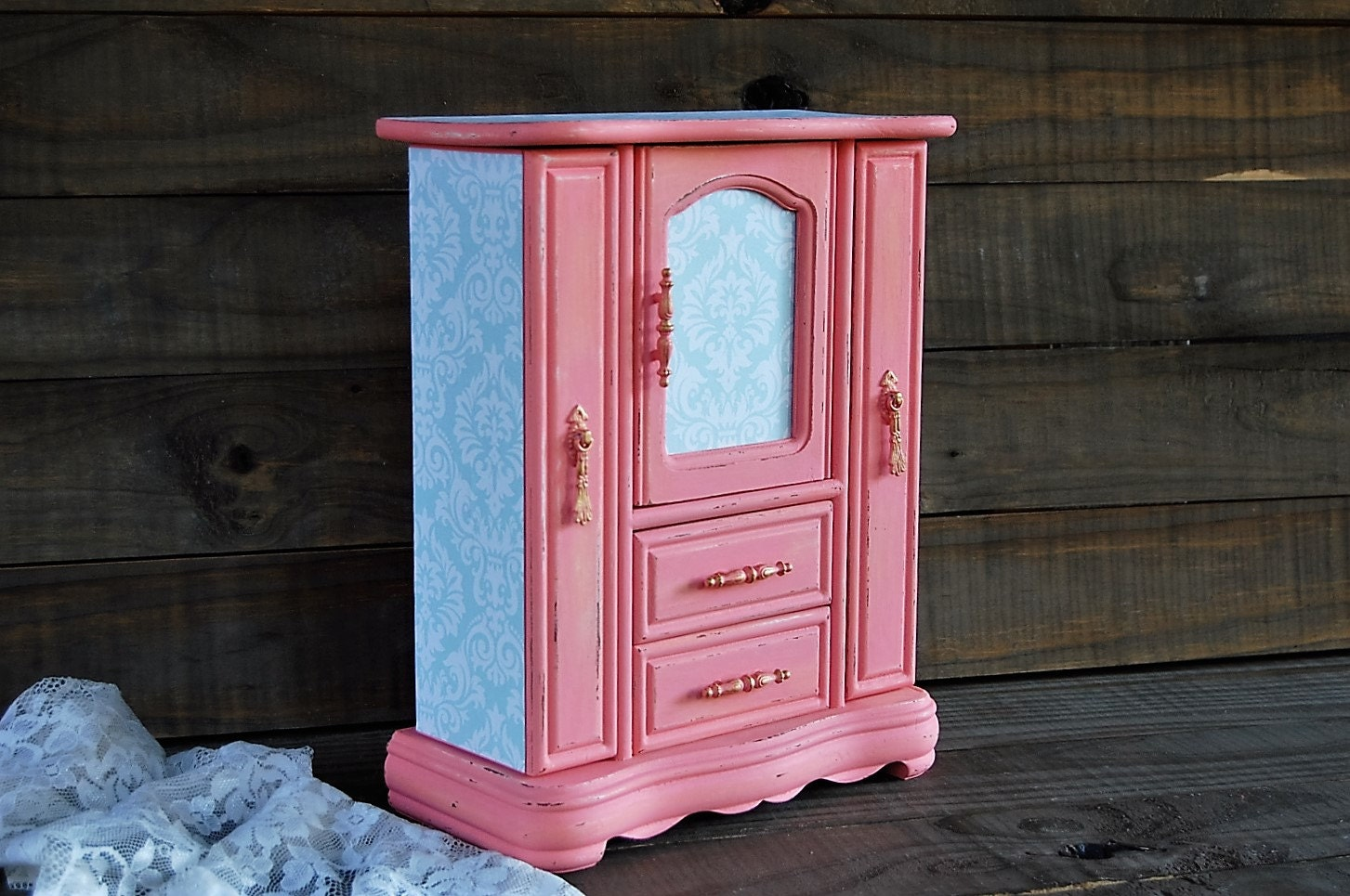 Decoupage Jewelry Box Jewelry Armoire Coral Mint Green