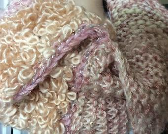 WinterNeckwarmer, Peachy PinkCowl, Textured HandKnit, Wearable Art. Multi Fibre Stripe Cowl, TextileArt, OOAK accessory